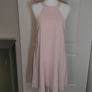 Lulu's light pink backless dress, fully lined